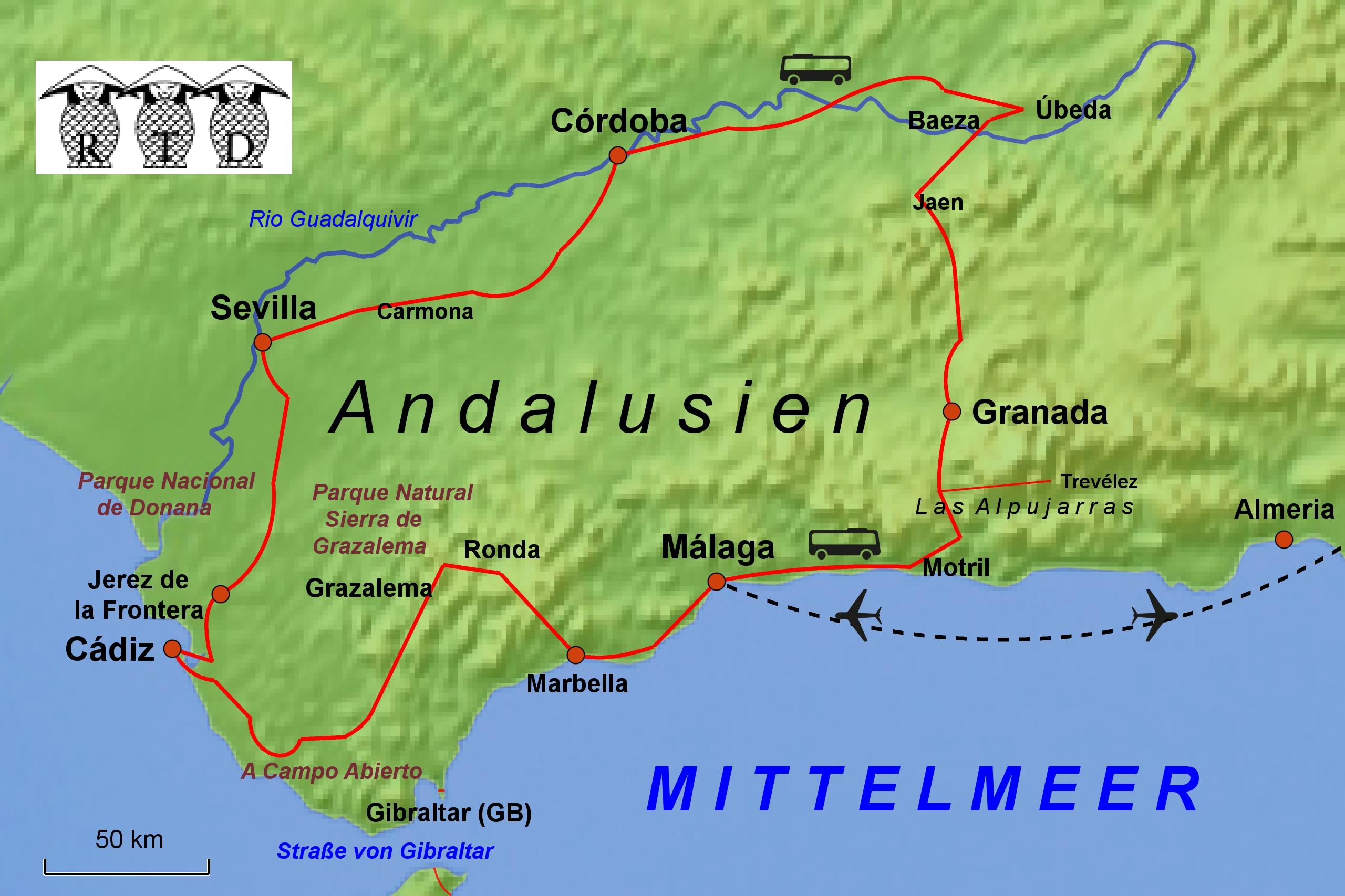 flughafen andalusien karte RTD Reisen: Reiseziele / Europa / Spanien flughafen andalusien karte